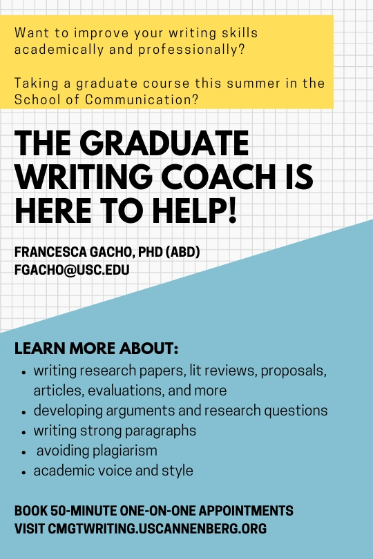 064e042b694 The Graduate Writing Coach has a new appointment system! Click here to  learn more about how to schedule your appointments.